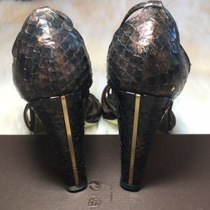 CHANEL Shoes - Chanel Bronze Python Camellia Heels Sandals